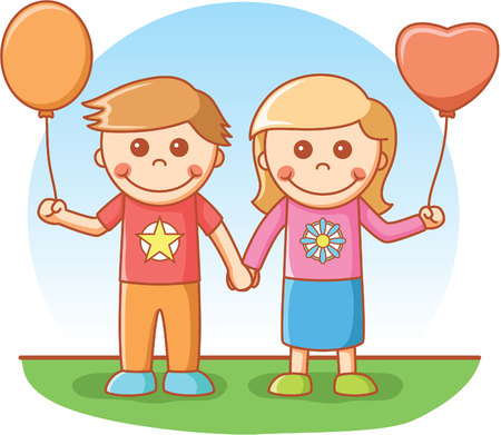 couple in summer: Boy and girl playing balloon