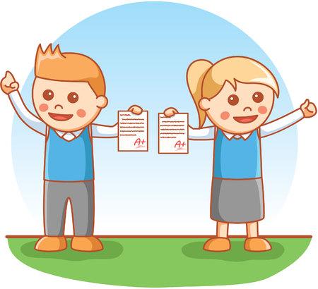 showing: kids showing school exam Illustration