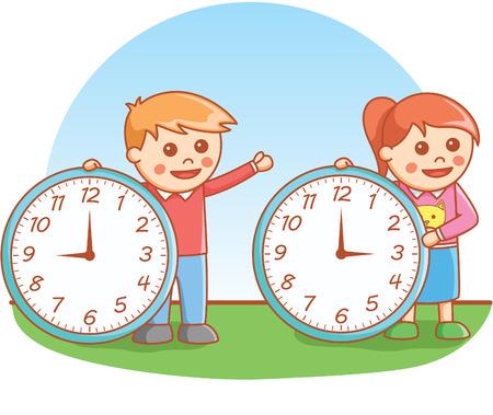 boys: Boy and girl holding clock