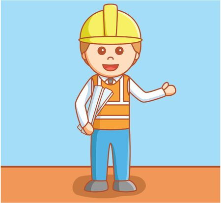 contractor: Business man construction project Illustration