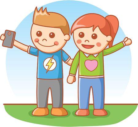 kid portrait: Boy and girl selfie