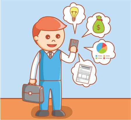 using smart phone: Business man using smart phone