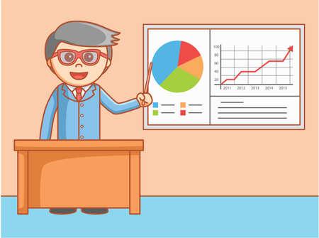 young business man: Business man presentation Illustration