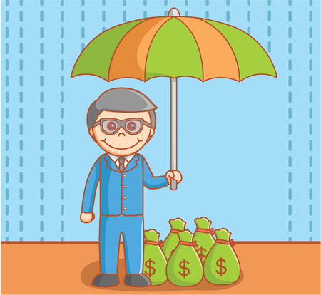 protecting your business: Business man protecting money Illustration