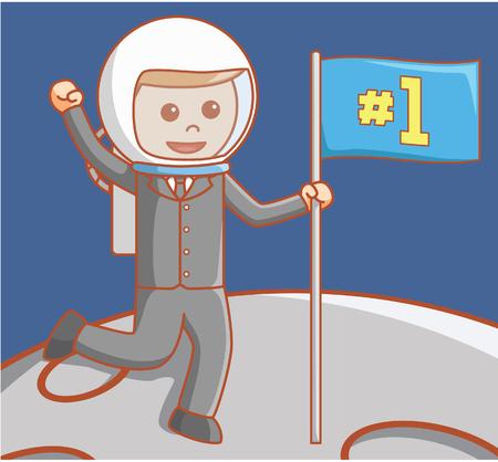jetpack: Business man on moon Illustration