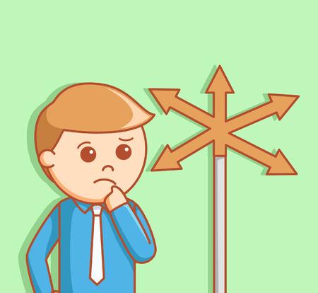 choices: Business man deciding ways Illustration