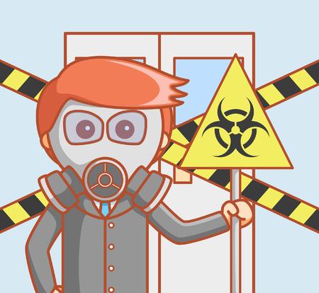 slip hazard: Business man hazardous Illustration