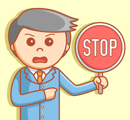 business sign: Business man stop sign Illustration