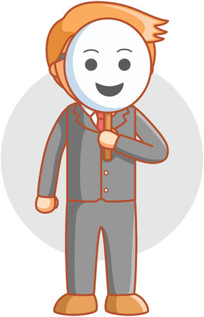 unhappy worker: Business man sad mask