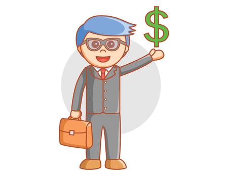 signo de pesos: hombre de negocios signo de dolar