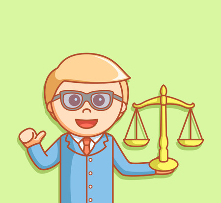 scale of justice: man showing justice scale
