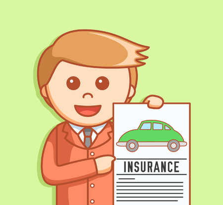 car business: Business man car insurance Illustration