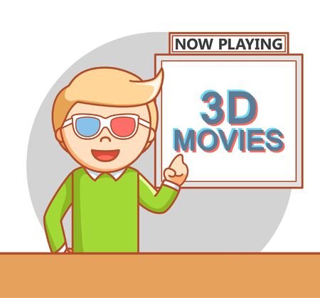 watching movie: Man watching 3d movie doodle illustration