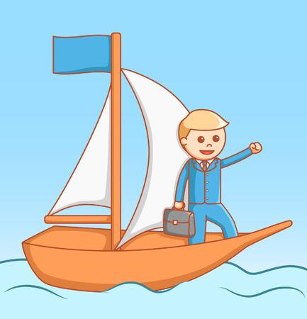 sad men: Business man sailing  illustration design