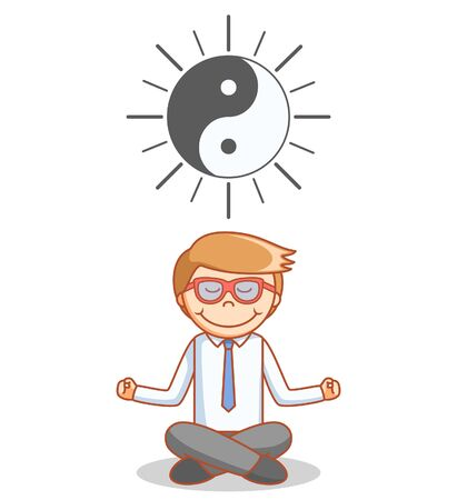 meditate: Business man meditate Illustration
