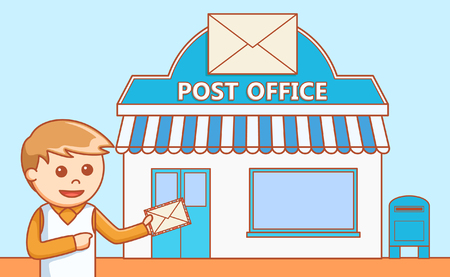 La oficina de correos ilustración del doodle del departamento Ilustración de vector