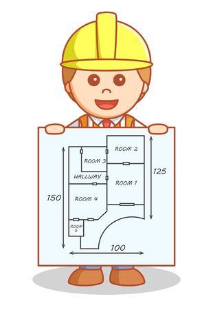 building plan: Architect showing building plan