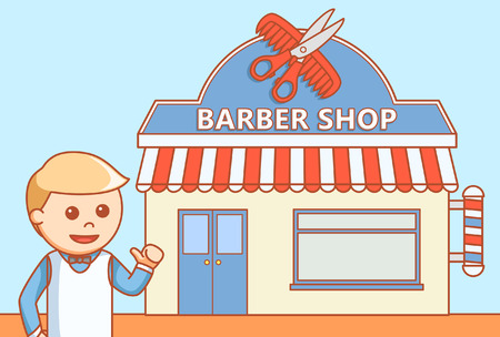 barber: Barber shop  doodle illustration