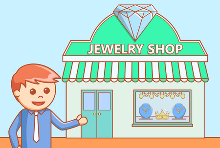 store: jewelry store  doodle illustration