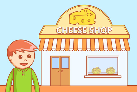 blue cheese: Cheese shop  doodle illustration