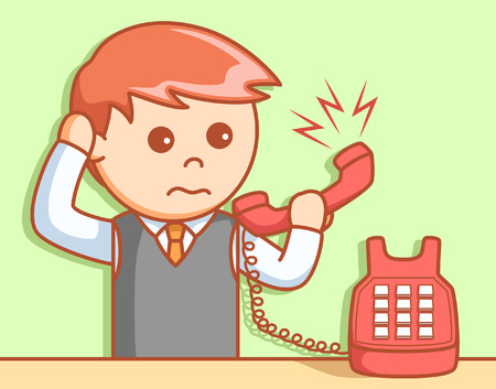 business phone: Business man angry phone  illustration design