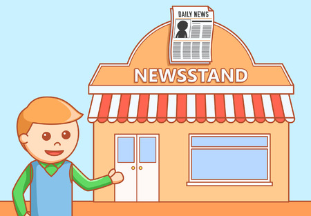 newsstand: Newspaper shop  doodle illustration