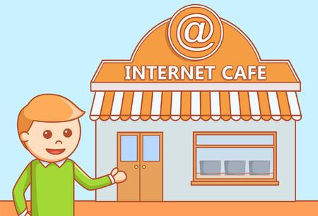 internet cafe: Internet cafe  doodle illustration