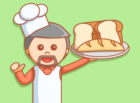 haciendo pan: Panadero, ilustración, diseño