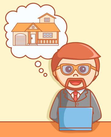 sell: Sell house online  doodle illustration