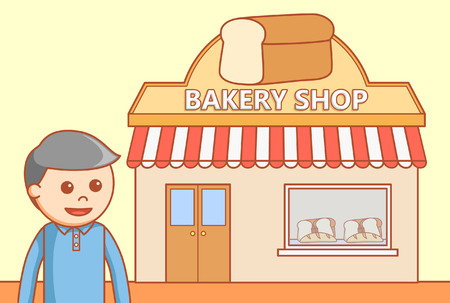 Bakery shop doodle illustration