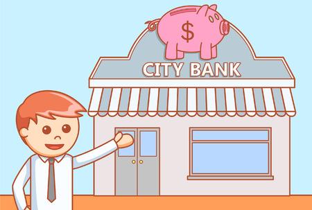 Bank doodle illustration Vektorové ilustrace