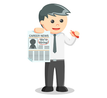 classified ads: Business man news for hiring employee Illustration