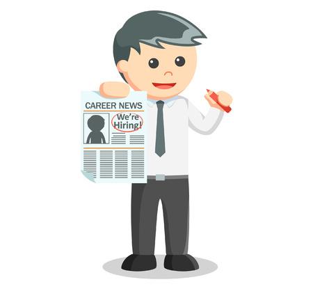 staffing: Business man news for hiring employee Illustration