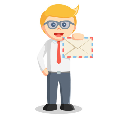 showing: Business man showing mail Illustration
