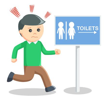Man haast wc Stock Illustratie