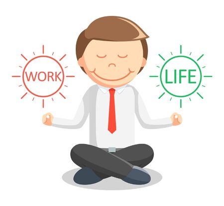 man meditating: Business man meditating work life Illustration