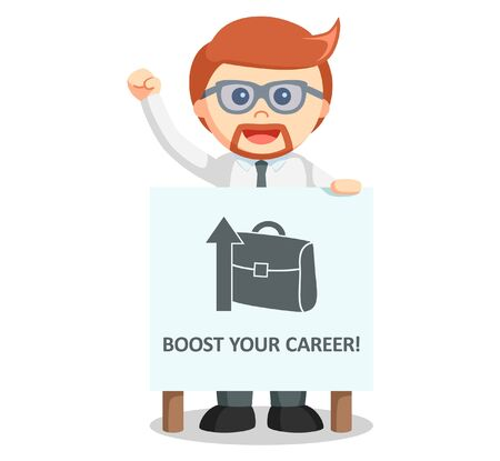 boost: Business man boost career Illustration