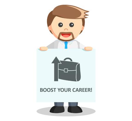 boost: Business man boost career Illustration