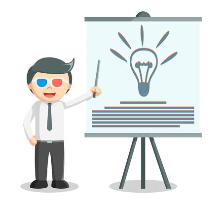 power point: Business man idea presentation