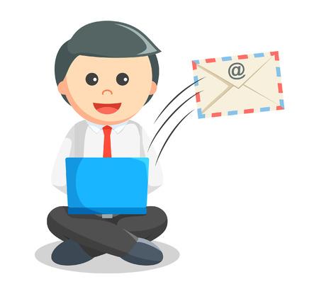 sending: Business man sending mail