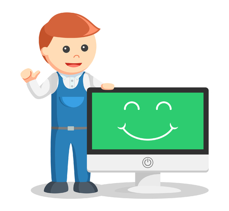 technician: Technician smile  illustration