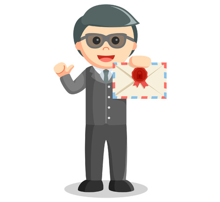 confidentiality: Business man showing mail Illustration
