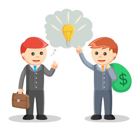 Business man sharing Idea negotiation Ilustrace