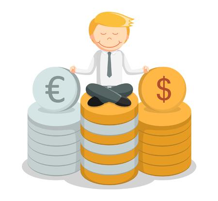 zen attitude: Business man argent méditant Illustration