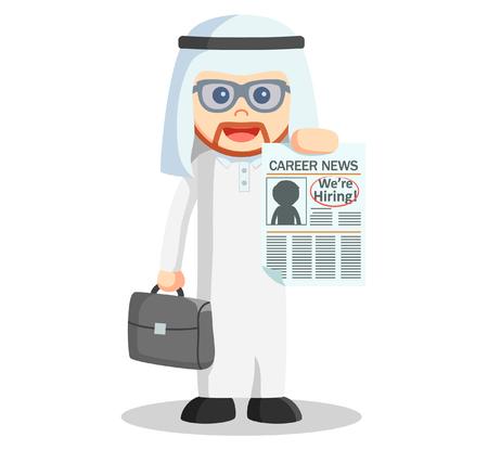 arabic man: Arabic man showing news