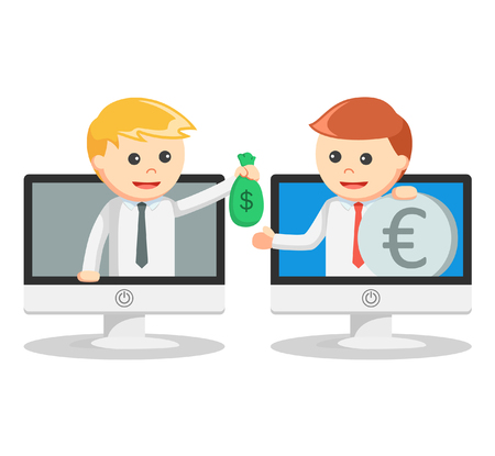 money exchange: Business man online money exchange Illustration