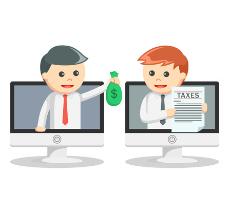 paying: Business man paying tax online