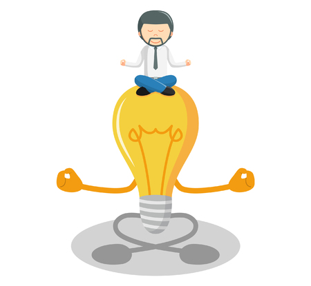 meditating: Man idea business meditating