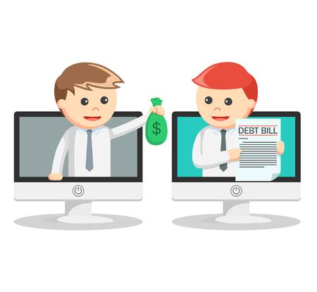 paying: Business man paying debt online