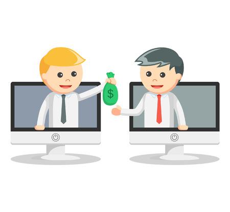 Biznes człowiek przelew on-line Ilustracje wektorowe
